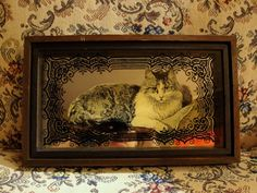 Vintage Silkscreened Glass Impressions Cat, Hambly Studios, Victorian-esque Shadowbox, Diorama Wall Art.