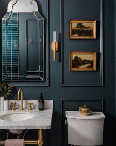 Interior Exterior, Home Interior, Bathroom Interior, Garage Bathroom, Washroom, Dark Bathrooms, Beautiful Bathrooms, Guest Bathrooms, Estilo Hollywood Regency