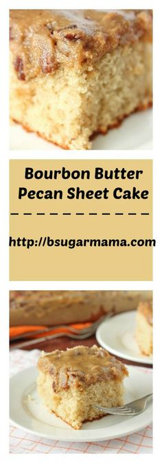 This Bourbon Butter Pecan Sheet Cake is moist and delicious. Use a Butter Pecan Box Cake mix and making this icing and everyone will think its all homemade! Bourbon Recipes, Pecan Recipes, Sweet Recipes, Baking Recipes, Delicious Cake Recipes, Cake Mix Recipes, Yummy Cakes, Sheet Cake Recipes, Sheet Cakes