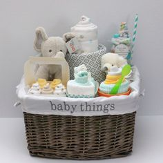 Gender Neutral Baby Gift Basket, Baby Shower Gift, Unique Baby gift by RsBabyBaskets on Etsy