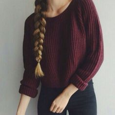 Image of Design round neck long-sleeved knit sweater   82307