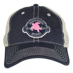 Simply Southern Hat  Navy Trucker  Pink Turtle by ThePinkRock