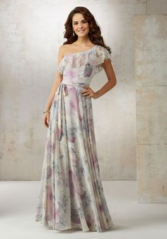 Morilee by Madeline Gardner Bridesmaids Style 21503 | Ruffles Flutter Over One Shoulder to Create a Soft and Graceful Silhouette on This Bridesmaids Dress. Matching Tie Sash Included. Zipper Back