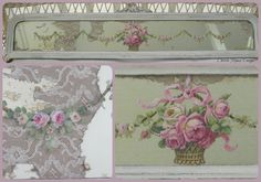 Vintage tattered mirror with old French lace backing, embellished with original handpainted roses by Christie Repasy