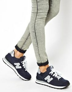 women's navy new balance 574