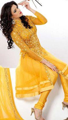 Yellow Nett Churidar Anarkali Suit