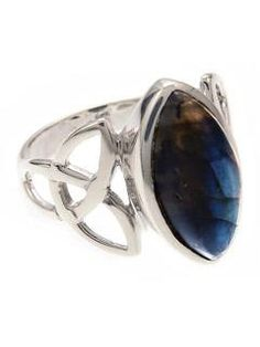Labradorite Ring with Celtic Trinity - Sterling Silver - gaia rising metaphysical