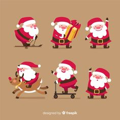 Variety of santa claus postures collection Free Vector Christmas Drawing, Christmas Paintings, Christmas Art, Christmas Themes, Christmas Quotes Images, Merry Christmas Quotes, Christmas Wishes, Illustration Noel, Christmas Illustration