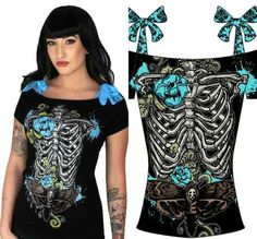 Too Fast Goth Punk Emo Rockabilly Annabel Skeleton Pin Up Zombie Skull Shirt L | eBay
