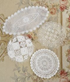 Beautiful Collection of 4 Vintage Lace Doilies by Jenneliserose, $24.00