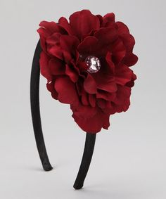 Take a look at this Dimples Burgundy Flower Headband by Time to Shine: Girls' Apparel on #zulily today!
