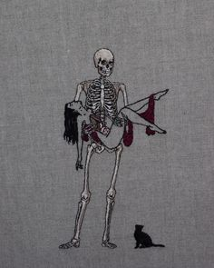 """adipocere: """" Hand embroidery on natural linen. Available: sales@beinart.org """""""