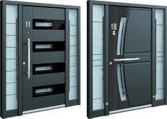 Designed and built in Slovenia, Inotherm's front doors are designed to offer better thermal insulation, sound blocking, and protection against intruders. Main Entrance Door Design, Main Gate Design, Door Gate Design, Room Door Design, Steel Gate Design, Steel Security Doors, Modern Front Door, Grades, House Front Design