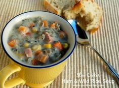 Slow Cooker Ham and Wild Rice Soup adapted from Betty Crocker, easy, healthy and delicious, 205 calories, 5 Weight Watchers Points Plus Ww Recipes, Slow Cooker Recipes, Crockpot Recipes, Soup Recipes, Cooking Recipes, Healthy Recipes, Weight Watchers Soup, Leftover Ham Recipes, Slow Cooker
