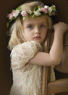 Precious flower girl at a romantic vintage style wedding