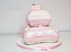 Pillow cake christening baptism cake girl