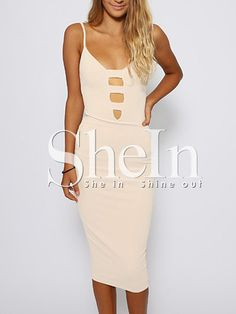 Apricot Reverse Poplin Spaghetti Strap Cut Out Dress -SheIn(Sheinside) Mobile Site