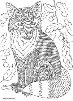 Fox Printable Adult Coloring Page