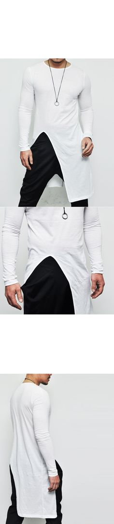 Tops :: Tees :: Avant-garde Edge Unbalance Long-Tee 138 - Mens Fashion Clothing For An Attractive Guy Look