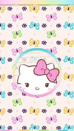#spring #butterfly #wallpaper #android #iphone #cute #hello_kitty