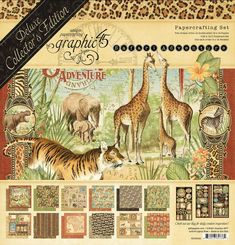 Graphic 45 - Safari Adventure - Deluxe Collectors Edition Contains: 2 each of 12 different 12 x 12 patterned papers for a total of 24 sheets 1 sheet of decorative chipboard 2 - 6 x 12 sticker sheets The collection is manufactured in the U. Graphic 45, New Safari, Safari Theme, American Crafts, Mini Albums, Journaling, Travel Album, Safari Adventure, Simon Says Stamp