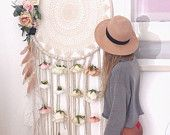 Extra large dreamcatcher dream catcher cream blush peach and pink wedding home party decor Los Dreamcatchers, Large Dream Catcher, Dream Catchers, Craft Projects, Projects To Try, Diy And Crafts, Arts And Crafts, Deco Boheme, Silk Flowers