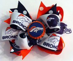 Denver Broncos boutique style bottle cap hair bow on Etsy, $9.00