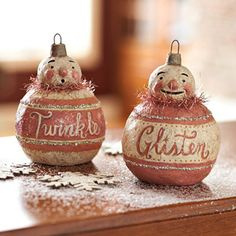 Modeled after decorations in turn-of-the-19th-century style, these papier-mache ornaments spread good cheer whether they're hung from your tree or positioned around the house.