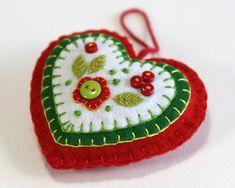 Felt Heart Christmas Ornament, Red, White and Green heart.