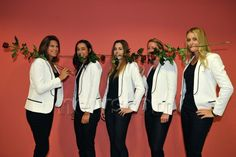 French team Pauline Parmentier, Kristina Mladenovic, Caroline Garcia, Alize Cornet and pregnant captain Amelie Mauresmo during the drawing ceremony at the Fed Cup Semi-Final round tie at CEZ Arena in Ostrava, Czech Republic on April 17, 2015.
