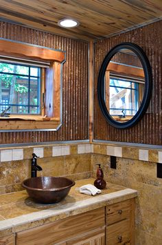 1-1/4 Corrugated looks great in this rustic bathroom.