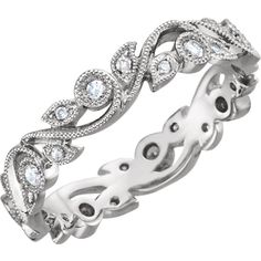 Diamond moussanite Scroll Eternity Band