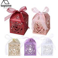 50 pcslot faveur de mariage botes et sacs amour coeur laser cut cadeau candy - Aliexpress Decoration Mariage