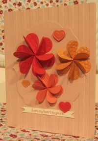 Pinwheel flowers made from hearts folded in half