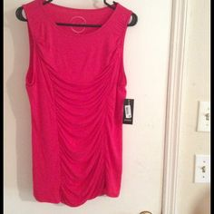 New bright top Super cute top very flattering 95% rayon 5% spandex color red romance  INC International Concepts Tops