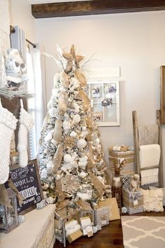 How to decorate your christmas tree and mantel the easy way. Plus free christmas tag printables. rustic, woodland, burlap white Christmas Tree by LillianHOpeDesigns.com: