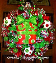 Deco Mesh Christmas Wreath with Metal Polkadot by OmahaWreaths, $109.00