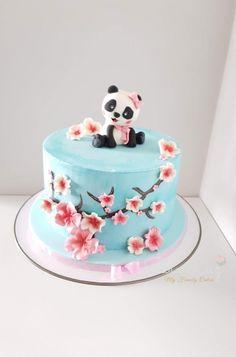 Panda and Cherry blossoms cake - cake by Sara Luz Panda Themed Party, Panda Party, Panda Birthday Cake, Birthday Cake Girls, Cherry Blossom Party, Cherry Blossoms, Beautiful Birthday Cakes, Beautiful Cakes, Bolo Panda