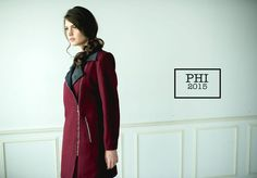 Lovely Burgundy coat by PHI, I definitely love this color for this season! 毛呢酒紅拼接麂皮大衣外套