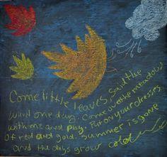 Waldorf Inspired Home School Themes- Leaves (via This Cosy Life) Waldorf Preschool, Waldorf Kindergarten, Waldorf Crafts, Chalkboard Drawings, Chalkboard Art, Blackboard Drawing, Chalk Drawings, Autumn Crafts, Autumn Art