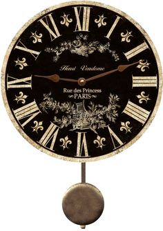 Black French Clock. Black French Country Wall Clock