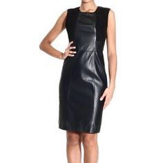 BELSTAFF SLEEVELESS LITTLE BLACK DRESS LEATHER AND SUEDE Price: $1846.75 Shop @ Giglio.com