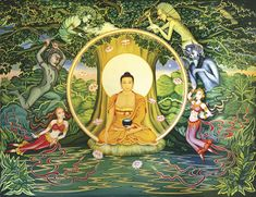 """""""Enlightenment"""", Mural scene at Temple,   Bodhgaya, India by by Marianna Rydvald."""