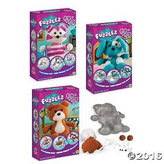 This amazing new creative craft activity is huggable, loveable and totally fuzzable! Make a set of three soft, cuddly animals with magically transforming wool—just pack it into the mold, spray, wash and dry to make your own Fuzzeez friends.