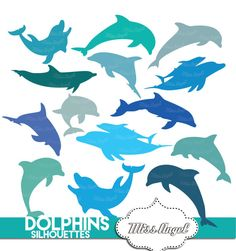 14 Various dolphins silhouettes clip art. by MissAngelClipArt
