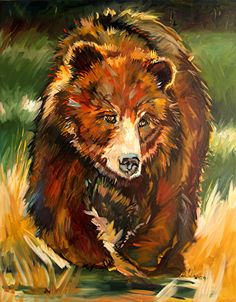 Bruin Bear by Diane whitehead Oil ~ 48 x 60 Bear Paintings, Watercolor Paintings, Indian Paintings, Abstract Paintings, Watercolors, Oil Painting App, Painting Tips, Painting Art, North American Animals