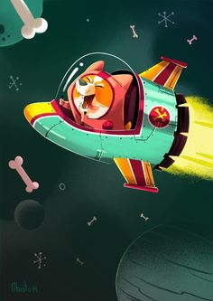 Space Dog! by Maroto Bambinomonkey, via Behance
