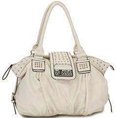 Beige Designer Inspired Metal Studded Soft Leatherette Shopper Hobo Tote Shoulder Bag Satchel Handbag Purse