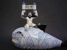 Huge Bernard Moss Mevagissey Cornwall Cornish Studio Figure Jonah and the Whale | eBay