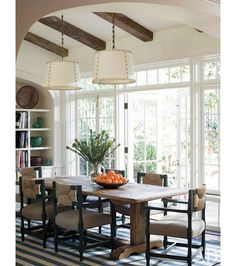 2 pendants over table. Traditional Dining Room by Peter Dunham Design 2 pendants over table. Traditional Dining Room by Peter Architectural Digest, Dining Room Design, Dining Area, Kitchen Dining, Dining Table, Dining Decor, Dining Chairs, Room Chairs, Sunroom Dining